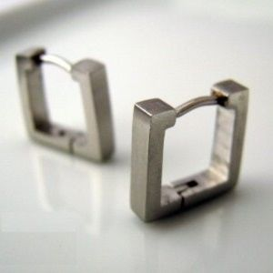 Titanium & Stainless Steel Square Huggie Earrings